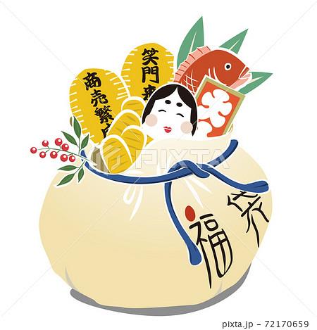 商売繁栄・福袋・小判(ベクター) 72170659