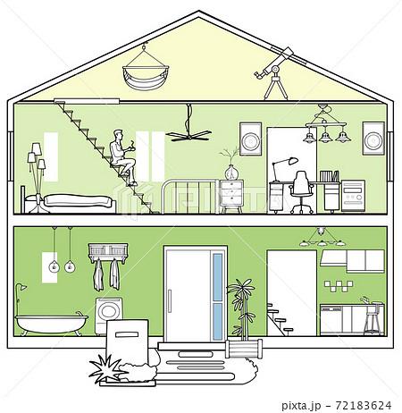 立面図-一人暮らしの家 72183624