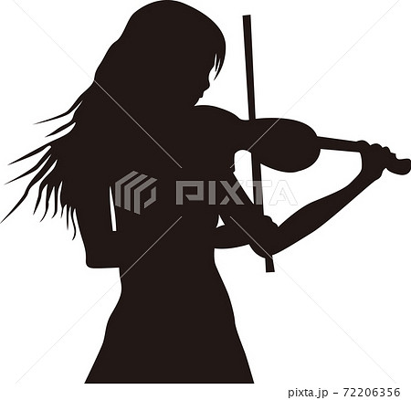バイオリンを弾く女性シルエット 72206356