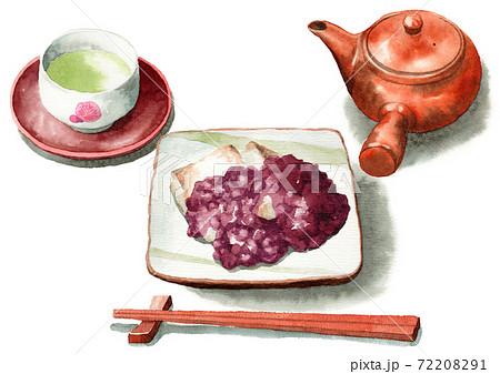 アナログ水彩あんこ餅粒あん日本茶セット 72208291