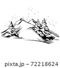 Mountain winter landscape illustration. Vector background concept hand drawn sketch 72218624