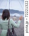 海辺の砂浜で手を振るカップル(お別れ) 72221322