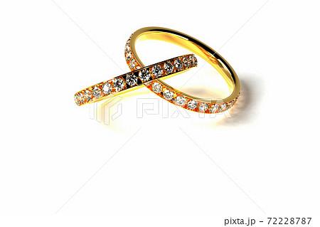 3Dレンダリングによる交差する指輪のイラスト 72228787