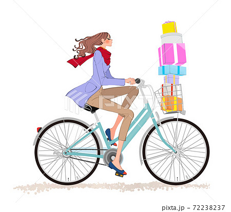 クリスマス、自転車にプレゼントを載せて走るマフラーとコートの女の子のイラスト 72238237