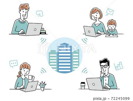 ベクターイラスト素材:オンラインミーティング、ウェブ会議、リモート、テレワーク、イメージ 72245099