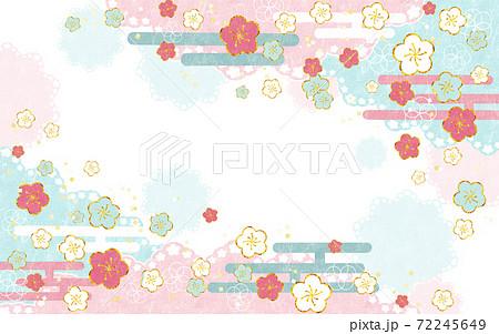 和風背景 梅とレース(ピンク青) 72245649