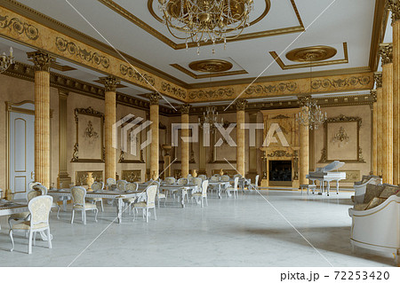 The ballroom and restaurant in classic style. 3D render. 3d image 72253420