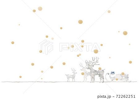 銀色のクリスマス、トナカイと金色の雪 72262251