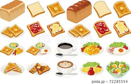 朝食の食パンイラスト(バタートースト、ジャムトースト、ピザトースト) 72285554
