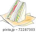 サンドイッチの手描き風イラスト 72287303