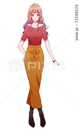 秋服のギャルモデル モテる女のファッションコーデ 72289229