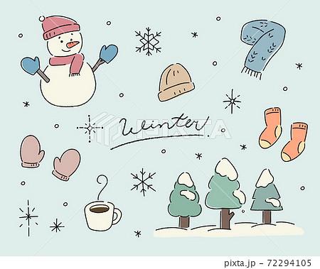冬の手描きイラストセット/かわいい/雪/結晶/雪だるま/マフラー/手袋/靴下 72294105
