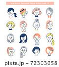 さまざまな女性の顔アイコン セット 72303658