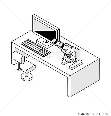 顕微鏡とパソコン 72310820