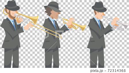 穿著黑色西裝的爵士音樂家。各種金管樂器,長號,小號,短號。 72314368