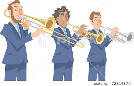 演奏するジャズミュージシャン。金管楽器各種、トロンボーン、トランペット、コルネット。 72314370