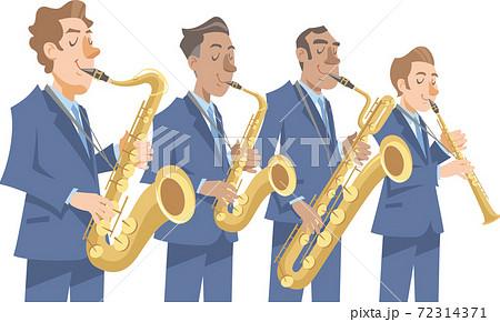 演奏するジャズミュージシャン。サキソフォン各種、バリトン、テナー、アルト、ソプラノ。 72314371