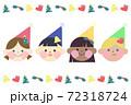 多国籍な子供たちのクリスマスアイコンセット 72318724