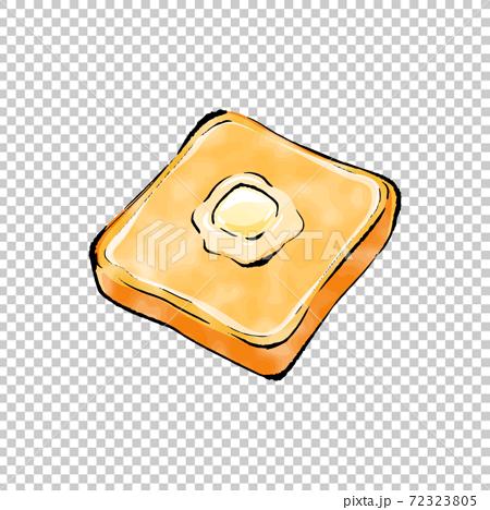 手書きラフスケッチ_バターを乗せたトースト 72323805