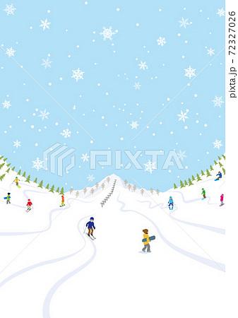 ゲレンデでウインタースポーツを楽しむ人々 縦長 A4比率 72327026