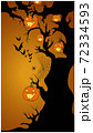 Halloween composition of a tree covered with jack-o-lanterns, spiders, web on it and bats flying by 72334593