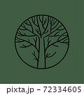 Abstract circle with a leafless tree inside logo template. Vectors 72334605
