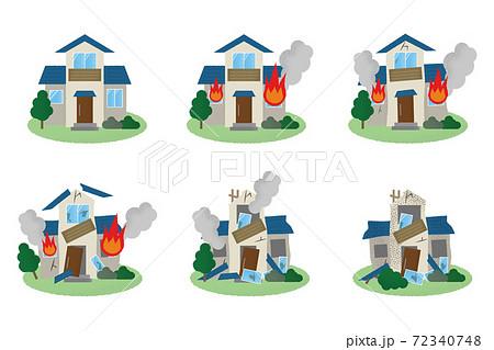 火災に遭う住宅のベクターイラストセット 72340748