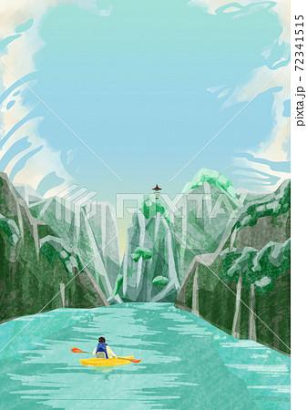 山間に流れる川の風景水彩風イラスト 72341515