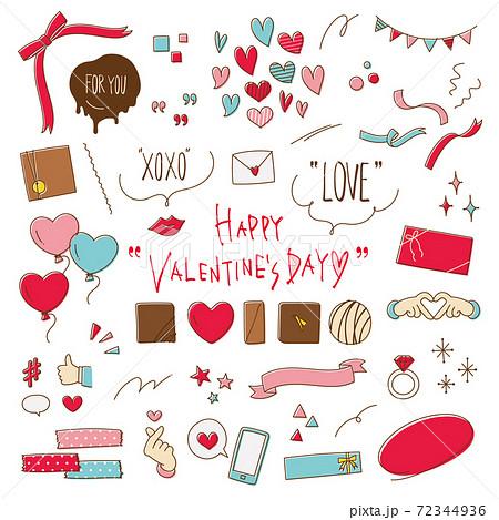 バレンタインデーのかわいい手描き線画イラスト素材セット 72344936
