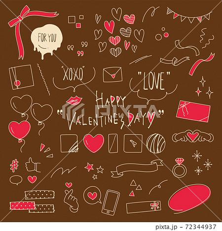 バレンタインデーのかわいい手描き線画イラスト素材セット 72344937