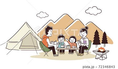 ベクターイラスト素材:家族でアウトドア、キャンプ、秋 72346843
