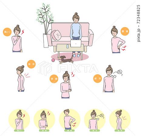 テレワークによる体調不良の女性 バリエーションセット 72348825