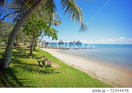 天国に一番近い島ヌメア海岸とヤシの木 72354476