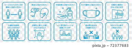 手洗い マスク うがい アルコール消毒 ソーシャルディスタンス 72377683