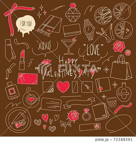 バレンタインデーの手描き線画イラスト素材セット 大人向け 72388391