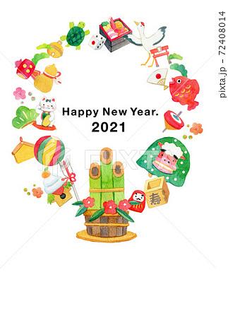 年賀状 手描きイラスト アナログ 72408014