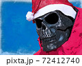 Illustration Drawn skull in the image of an evil Santa Claus on a blue background 72412740
