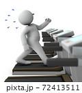 ランニングマシンで苦しそうに走る肥満体の男性。白バック。3Dレンダリング。 72413511