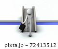橋を越え、境界を渡り、新天地を開拓するビジネスマン。3Dレンダリング。 72413512