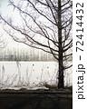 冬の北海道十勝の雪原、木のシルエット 72414432
