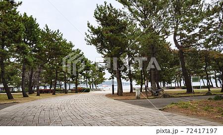 東京湾の人工渚神奈川県横浜市金沢区海の公園の冬 72417197