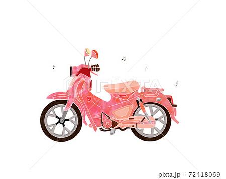 ピンクのかわいいバイクのシンプルなイラスト 72418069