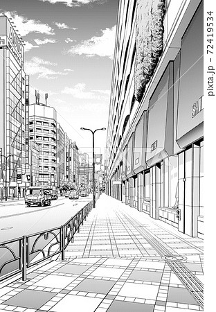 漫画風ペン画イラスト 繁華街_街並 72419534