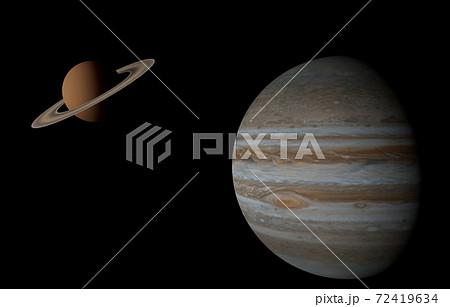 美しい木星と土星、3Dレンダリング 72419634