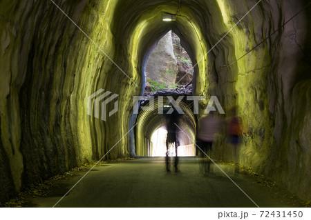 養老渓谷の神秘的な二階建てトンネルは緑色に撮れてしまう】 72431450