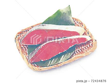 紅鮭の切り身 水彩画風 72434876