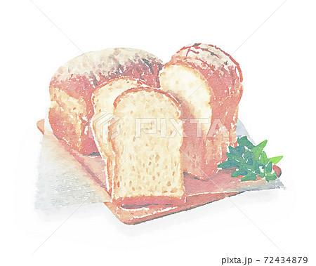 ふんわり山型食パン 水彩画風 72434879
