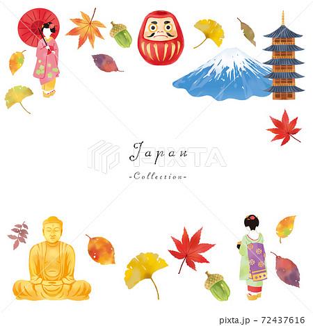 秋の舞妓さんと富士山と大仏とお寺の日本イメージセット  72437616
