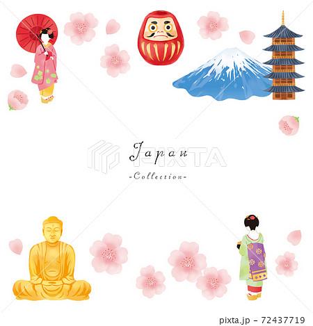 春の舞妓さんと富士山と大仏とお寺の日本イメージセット  72437719