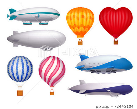Dirigible And Balloons Realistic Set 72445104